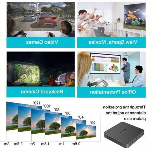 Mini 5500Lumens DLP HD Projector Android Bluetooth Theater HDMI USB