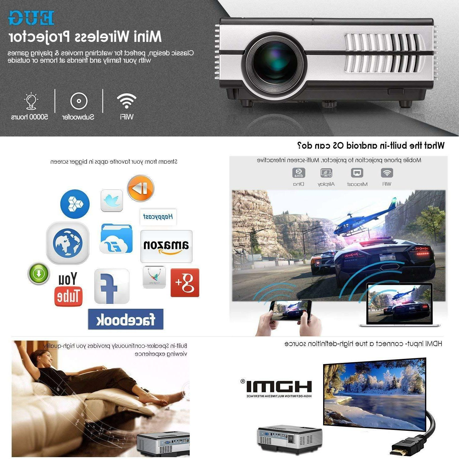 EUG Android Wifi Bluetooth 3D Projector 1080p Games