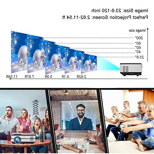 Mini LCD Projector HDMI 1080P 720P 1500 LED Laptop Games Movies Speakers,Zoom,Keystone