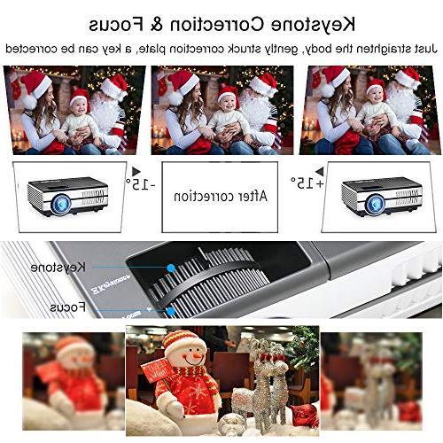 Mini EUG LCD HDMI Support 1080P 720P LED Movies Speakers,Zoom,Keystone