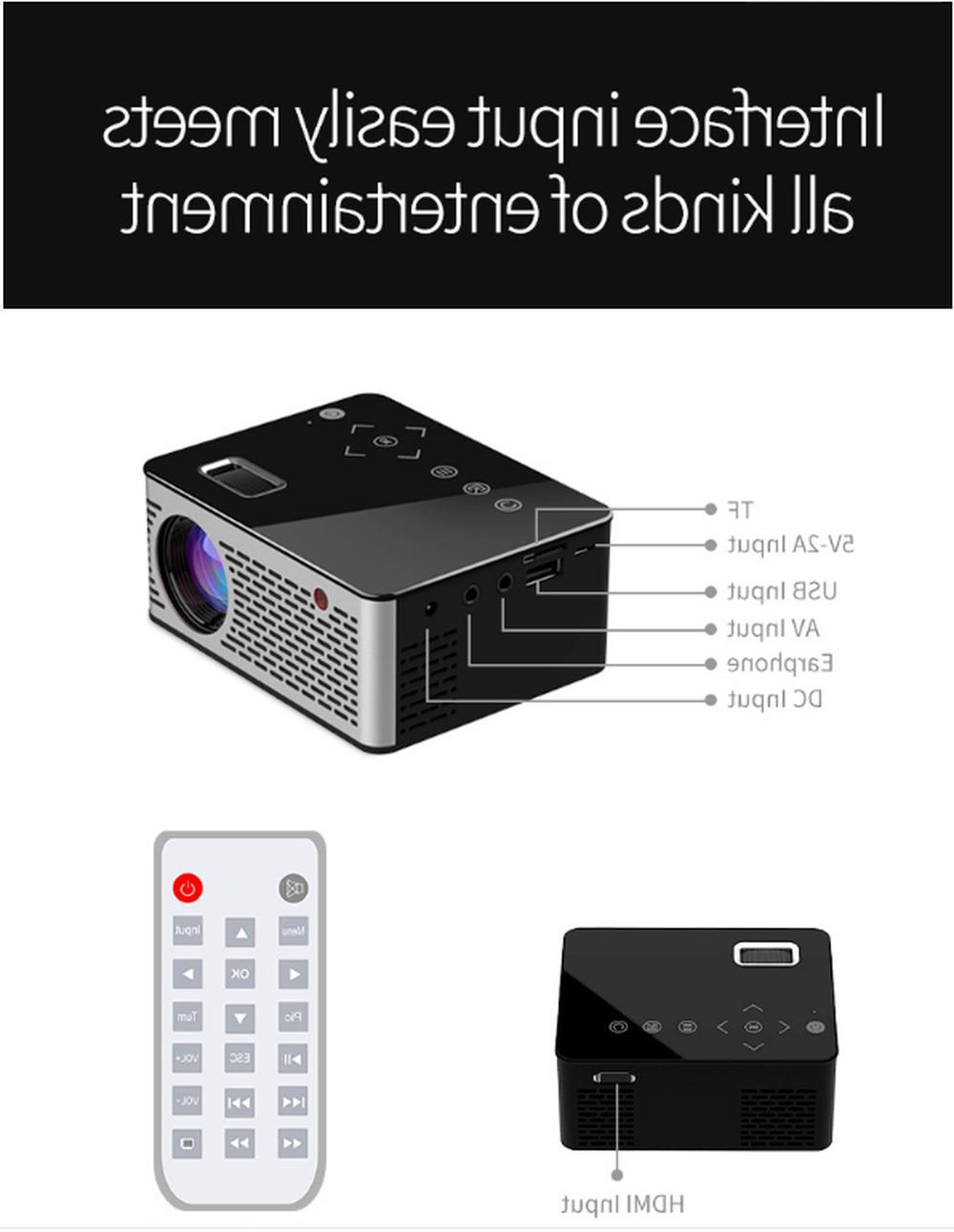 Mini LCD LED Projector Multimedia Home Theater 1080P USB AV
