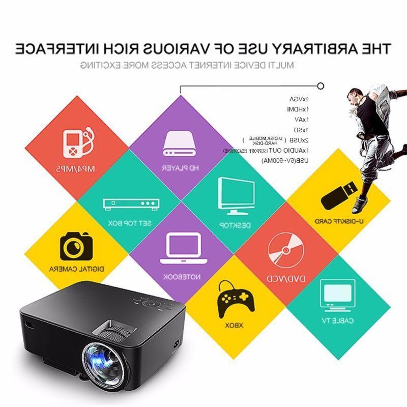 Mini 1080P LED Projector Home Cinema HD HDMI SD AV