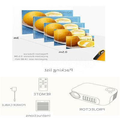 Mini 1080P Portable Projectors Home Theater HDMI