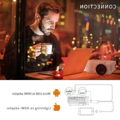 Mini LCD Projector Lumens Support Android Speaker