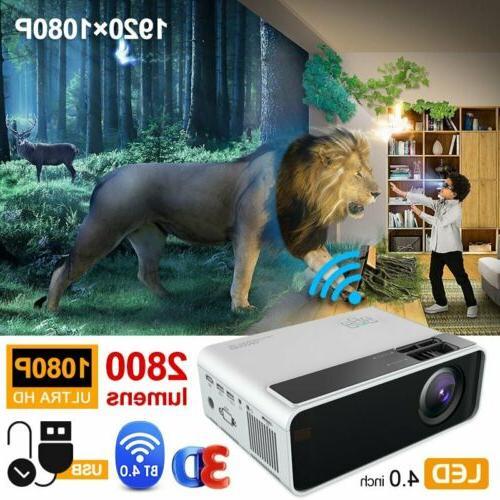 Mini LED 1080P Video Bluetooth Wifi Projector Home Media Theater