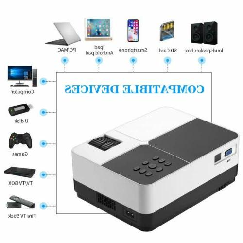 Mini Projector 1080P Support HD/USB/SD/AV/TF Home Cinema