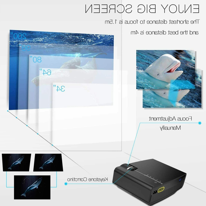 "Mini LED Projector HD Multimedia 200"" 1080P TVStick,"