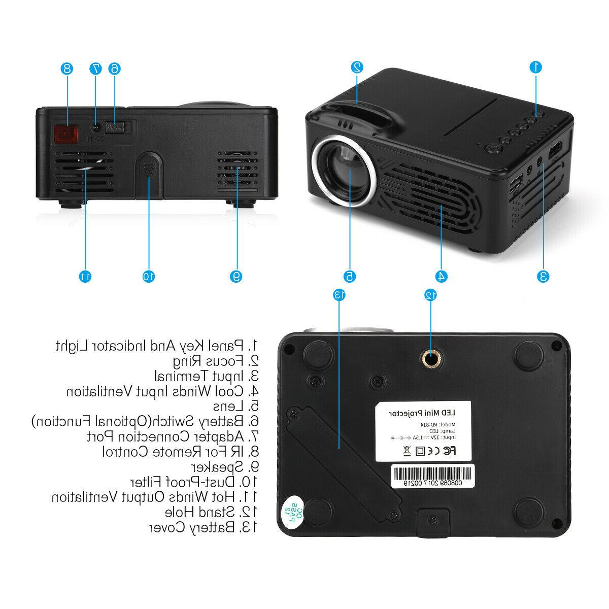 1080P HD Theater Cinema Mini Projector Movie TV
