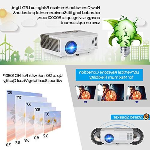 Portable with 1500 lumen Home Theater Projectors Support 1080P 720P HDMI Audio for Artwork Indoor
