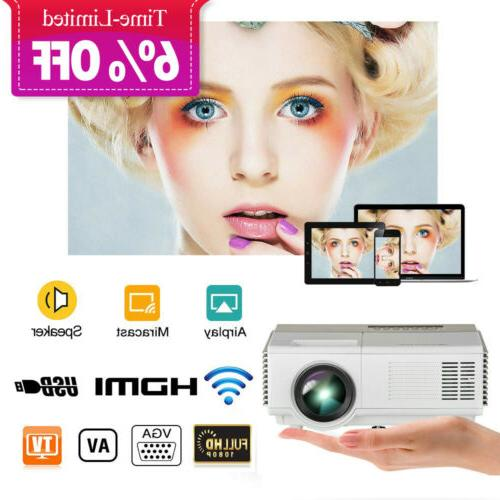 WiFi Bluetooth Wireless 1080P FHD Android LCD Projector Home