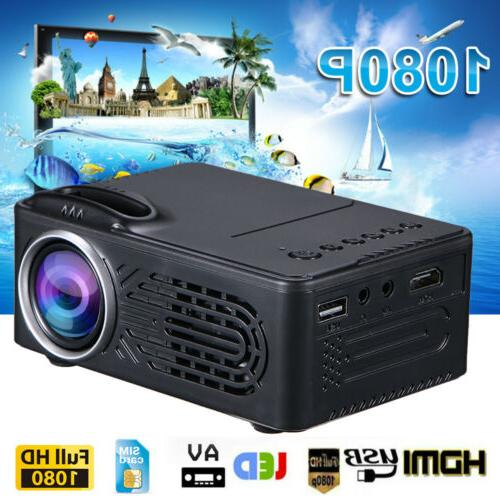 1080P Mini LED Projector Theater Cinema Video HDMI USB SD