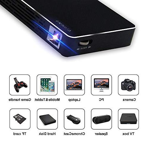Mini Portable Video Projector-120 Picture, Android 7.1, with Card for Cinema, Outdoor Travel,Gaming