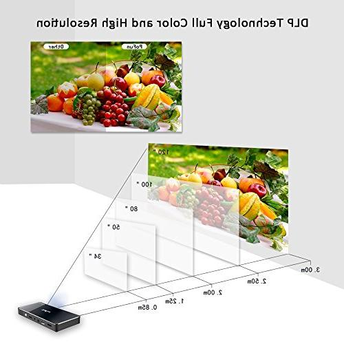 Projector,PoFun Mini Portable Bluetooth Video Andriod 7.1 Projector for Phone,Pad and Laptop,Mobile Projector 120 Display,Pico Projector Warranty Support