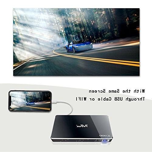 Projector,PoFun Mini Video Andriod 7.1 for Projector 120 inch Display,Pico HD Projector Include Warranty Support