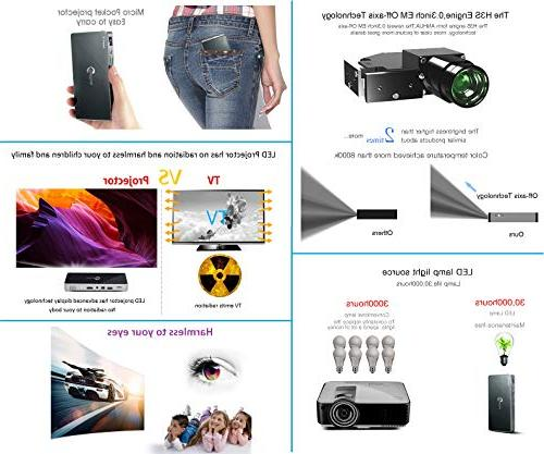 Mini Portable Projector 200 Android 7.1.2 Wireless and Wired Screen 5G Keystone
