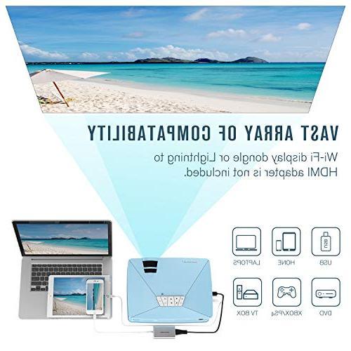 Mini GP15 +50% Brighter Portable LCD Mini Video Projectors,50000Hours Support Card AV Multimedia Cinema, TV, Games, Blue