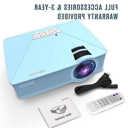 Mini +50% Brighter LCD 1080P USB SD Card AV for Multimedia Movie, TV, Blue