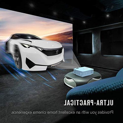 Mini Projector, +50% Mini Video 1080P USB SD Card TV, Laptops, Smartphones, Blue