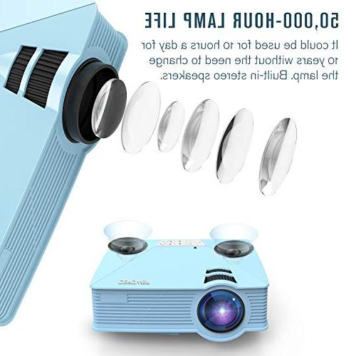 Mini +50% Portable Mini Projectors,50000Hours 1080P Card for Multimedia TV, Laptops, Games, Blue
