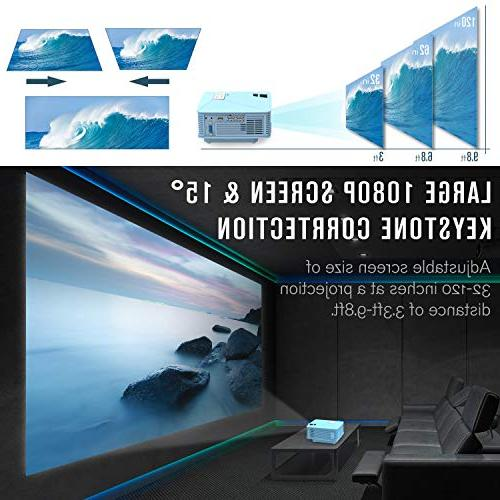 Mini DBPOWER GP15 +50% Brighter Portable Mini Video 1080P HDMI Card VGA Multimedia Home Cinema, TV, Games, Blue