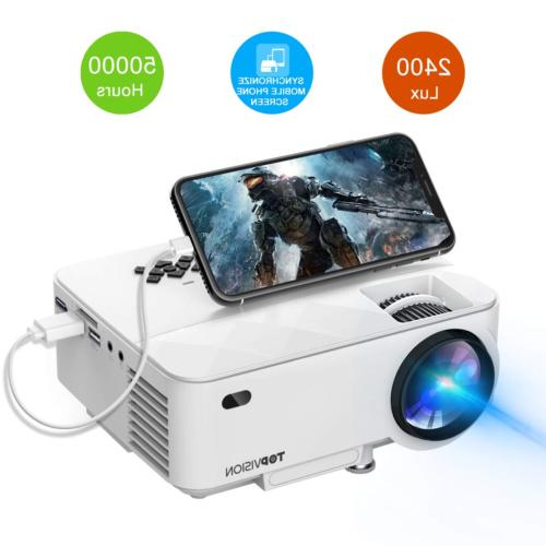 mini projector 2400lux with synchronize smart phone