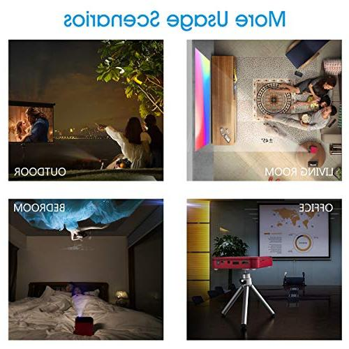 Mini Projector,Portable TV Battery 1080P Smart Pocket Home Theater Outdoor Kids Projectors PODOOR