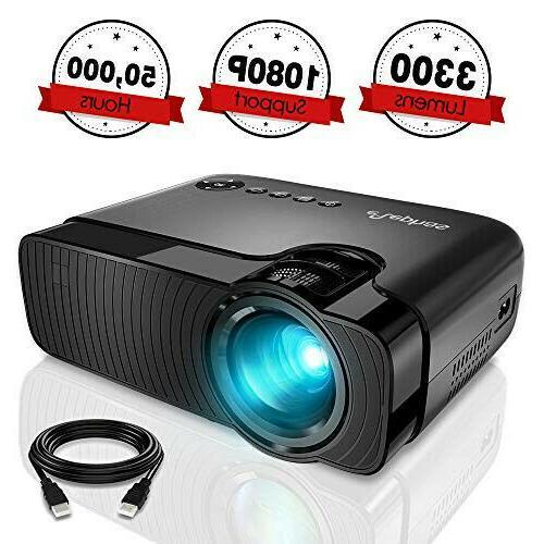 mini projector 3300 lumens portable home theater
