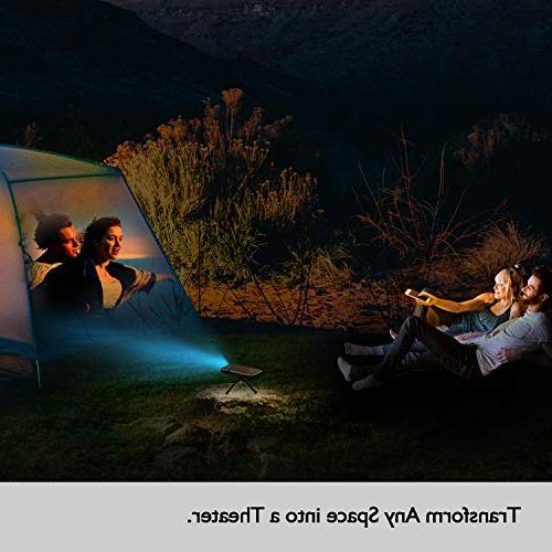 Mini Video Projector, Portable 1080P HD LED ANSI with HDMI, USB, & Audio and Remote Android Home