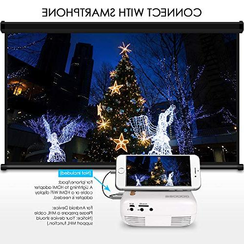 Mini Projector, GooDee Pico Projector, Video Projector PC USB for Movie