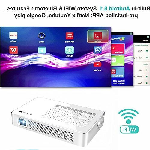 WOWOTO Android 5.1 Movie Projector 100ANSI LED Beamer 1080P Keystone Built-in