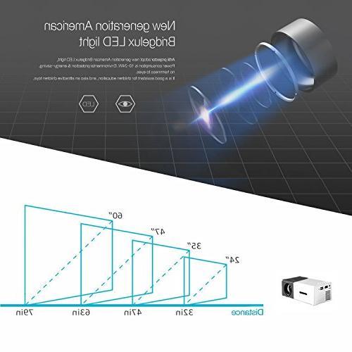 DeepLee Portable LED Home Cinema with Laptop USB/SD/AV/HDMI for Home - Black