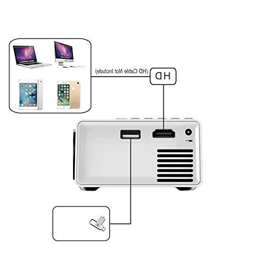 DeepLee DP300 Mini Portable LED Home Cinema Theater with Laptop USB/SD/AV/HDMI for Home Black