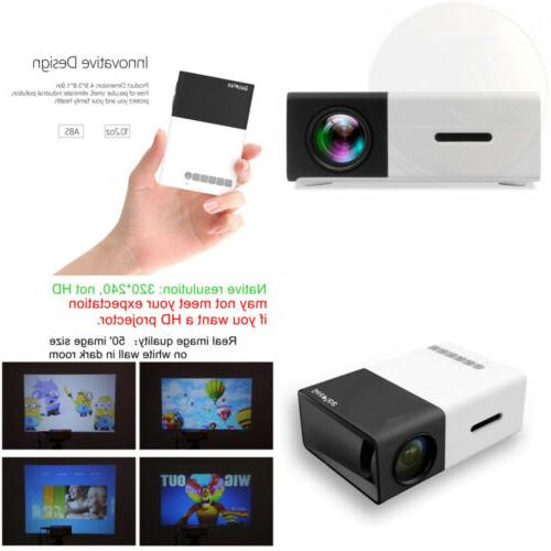 DeepLee DP300 Mini Portable LED Projector Home Cinema with PC Laptop Home Entertainment Projector