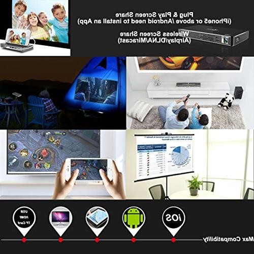 TOUMEI Projector, Android 7.1 OS, for iPad Android Quad-Core HDMI/TF/USB Socket Auto Keystone Portable
