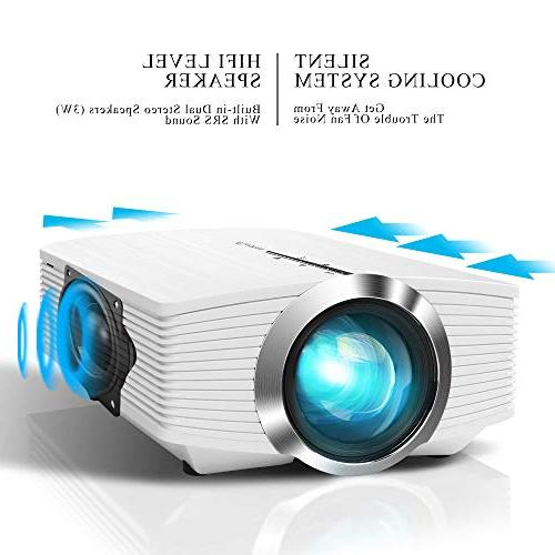 ELEPHAS Mini Projector, Theater LED with SD Card HDMI for Movie Night Piece Laptop Smartphone, White,