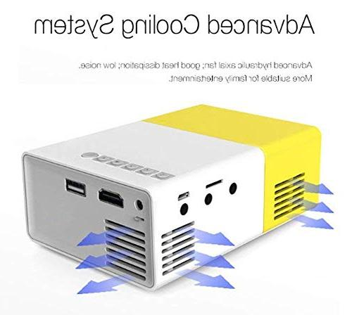 Mini Projector, YG300 Portable LED Projector Support Laptop USB Stick Input for Video Best