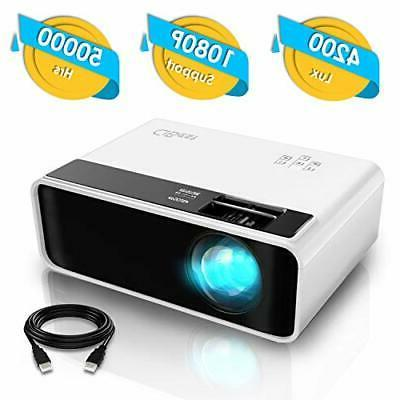 Mini Projector, Video Projector 4200 lux with 50,000 hrs Lon
