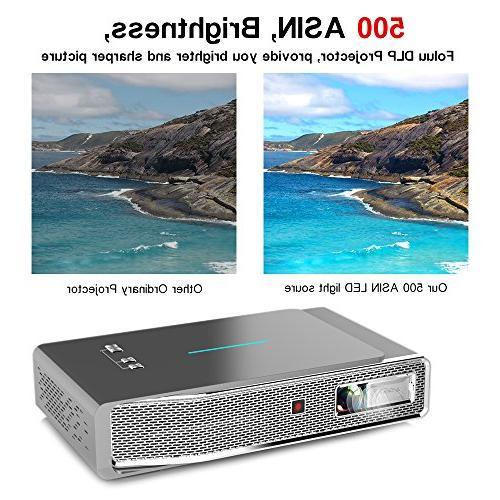Foluu Projector DLP Projector 500 lm HDMI TF for Auto Correction