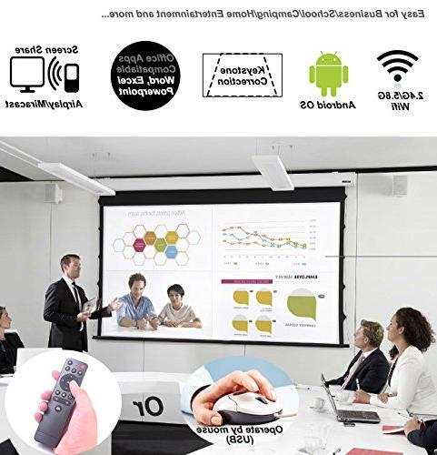 TOUMEI 7.1 OS, for iOS iPhone Android HDMI/TF/USB Socket Keystone Correction, Portable