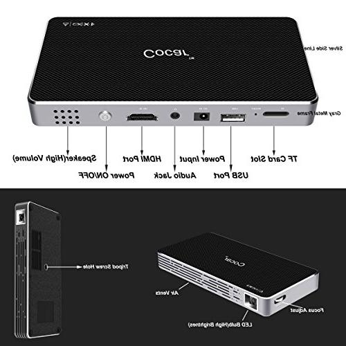 COCAR Video Projector DLP Movie Pico Airplay Wifi USB Keystone Correction OS Bluetooth Built-in Battery Audio