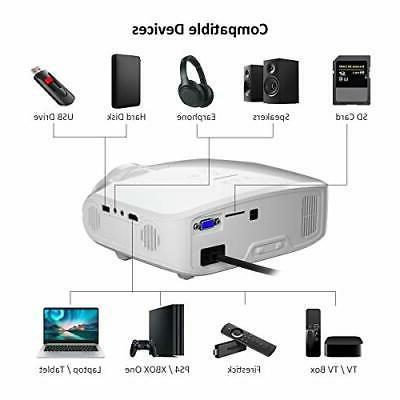 Crenova Mini Projector, Native 720P LED Video