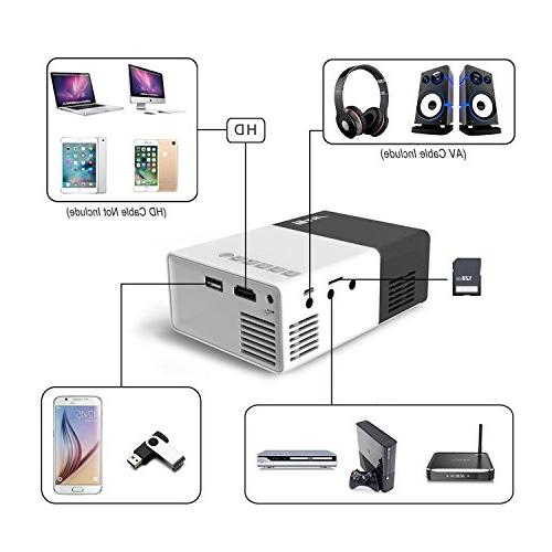 1080P Cinema Theater Movie projectors Laptop Smartphone Gift Party and