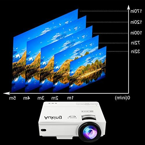 AuKing Lumens Hours Multimedia Movie Projector 1080P Support,Compatible with Amazon Fire HDMI,VGA,USB,AV,Laptop,Smartphone