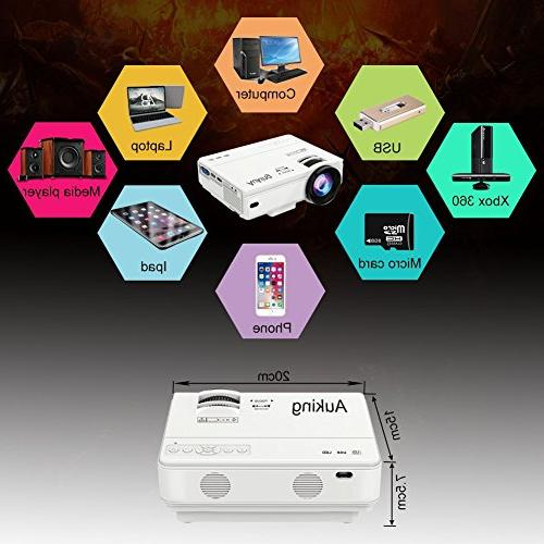 AuKing Lumens Portable Multimedia Projector 1080P with Amazon Fire HDMI,VGA,USB,AV,Laptop,Smartphone