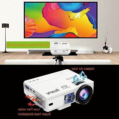 AuKing Mini Lumens Video-Projector,55000 Hours Multimedia Home Theater Projector 1080P Amazon Fire Stick
