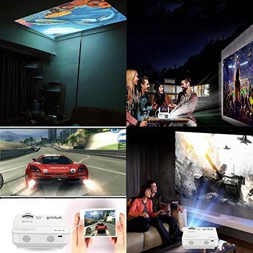 AuKing Mini Lumens Portable Multimedia Home Theater Projector 1080P Support,Compatible Amazon TV HDMI,VGA,USB,AV,Laptop,Smartphone