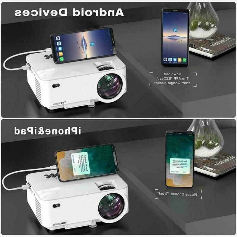 Mini Projector, 2400Lux Projector Phone Screen,