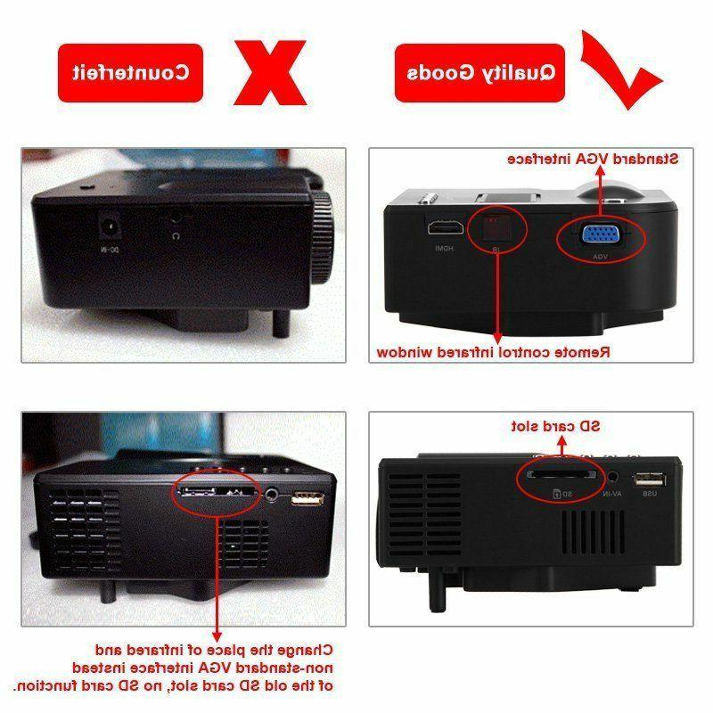 1080P Projector Home Multimedia USB AV TF