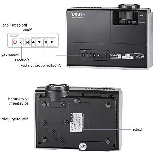 LCD HDMI USB Support 1080P LED Movies Artworks with Speakers,Zoom,Keystone
