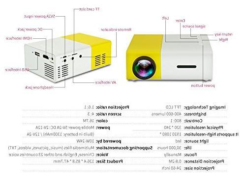 YOUYUAN LCD YG300 3.5mm 320x240 Pixel HDMI USB USB/SD/AV/HDMI Input for theater